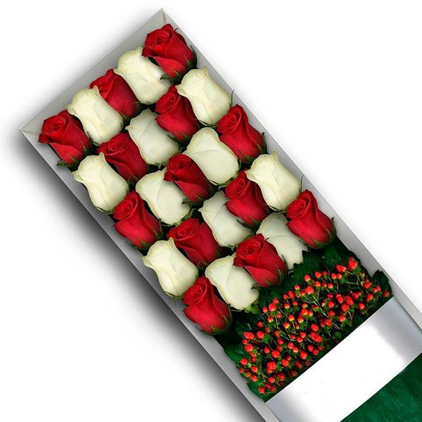 caja de 24 rosas irania floristeria bogota