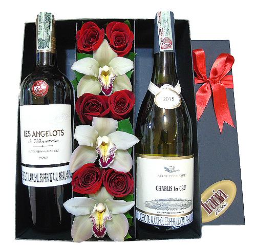 Rosas y Orquideas en caja con 2 vinos frances, irania floristeria bogota