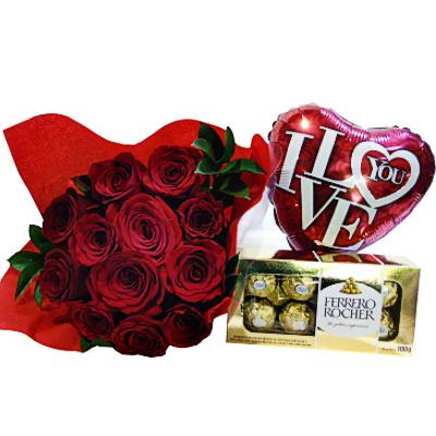 bouquet rosas rojas chocolates globos iraniafloristeria