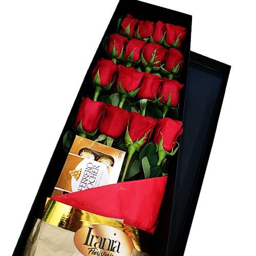 16 rosas rojas en caja negra con chocolates ferrero rocher