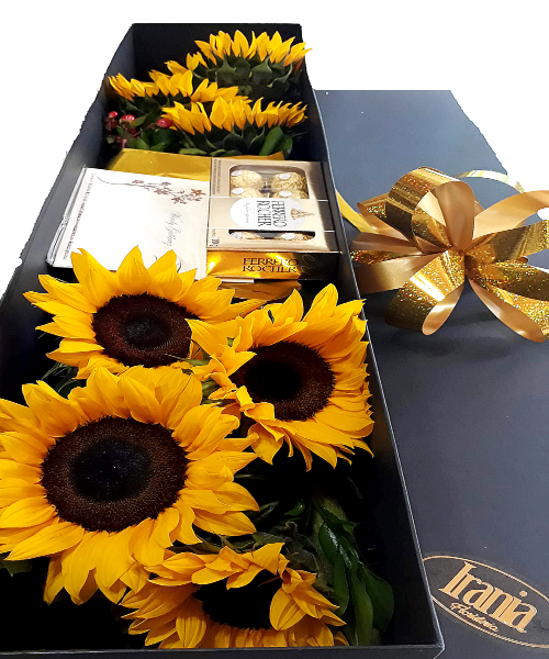 girasoles en caja con chocolate, irania floristeria bogota