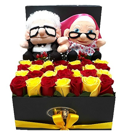 rosas en caja con peluche UP, irania floristeria bogota