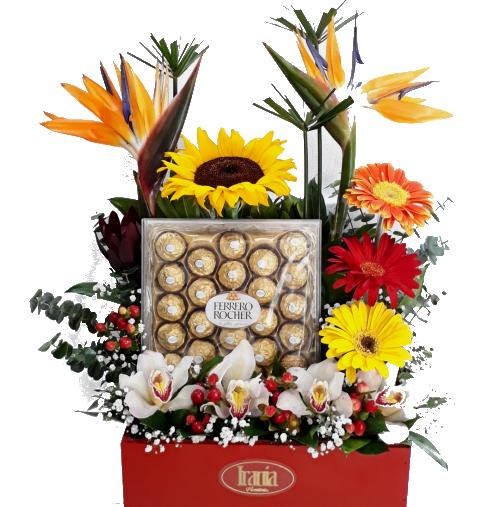 arreglo con chocolate , irania floristería