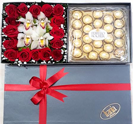 rosas y orquídeas con chocolate, irania floristería bogota.